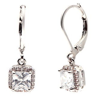 Simon Frank Silvertone Princess-cut Halo Design CZ Drop Earring