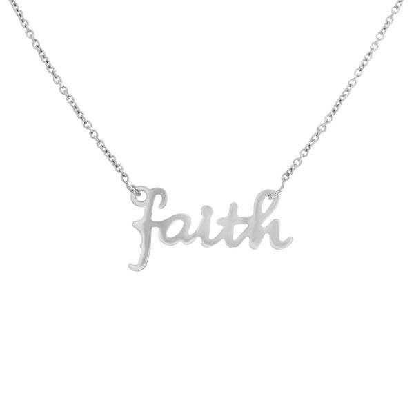 Sterling Essentials 14k Goldplated Sterling Silver Script 'Faith' Necklace