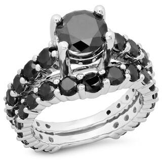14k Gold 5 1/4ct TDW Round Cut Black Diamond Bridal Engagement Ring (H-I, I1-I2)