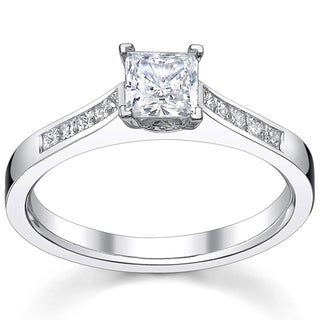 14k White Gold 1 1/3ct TDW Diamond Princess-cut Engagement Ring
