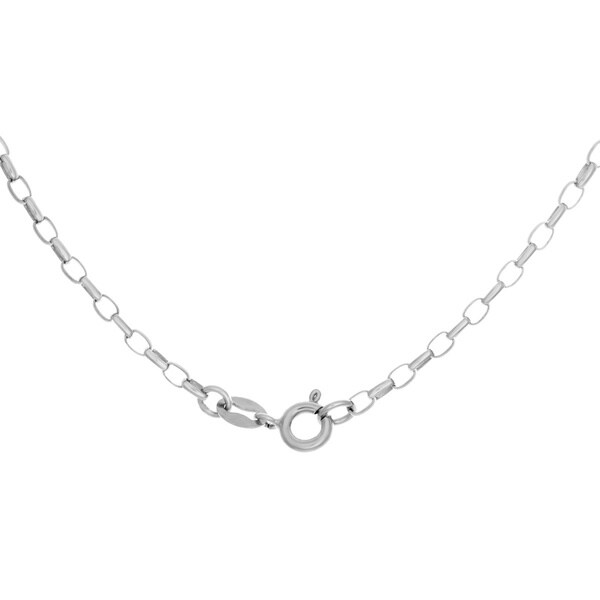 925 Sterling Silver Rhodium Oval Rolo Chain Necklace 1.5mm