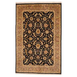 Herat Oriental Indo Hand-knotted Mahal Navy/ Beige Wool Rug (5'5 x 8'3)