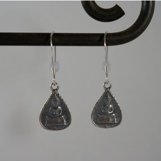 Sterling Silver Buddha Dangle Earrings