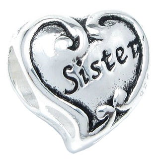 Queenberry Sterling Silver Sister Heart European Bead Charm|https://ak1.ostkcdn.com/images/products/9626493/P16812532.jpg?_ostk_perf_=percv&impolicy=medium