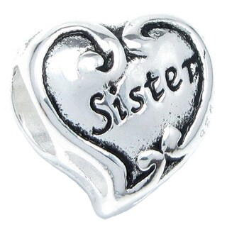 Queenberry Sterling Silver Sister Heart European Bead Charm