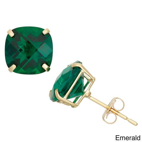 Gioelli 10k Yellow Gold 4 1/10ct TGW 8mm Cushion-cut Birthstone Stud Earrings