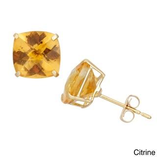 Gioelli 10k Yellow Gold 4 1/10ct TGW 8mm Cushion-cut Birthstone Stud Earrings (Option: November - Citrine)