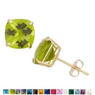 Gioelli 10k Yellow Gold 4 1/10ct TGW 8mm Cushion-cut Birthstone Stud Earrings|https://ak1.ostkcdn.com/images/products/9626514/P16812555.jpg?impolicy=medium