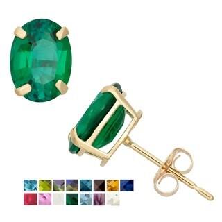 Gioelli 10k Yellow Gold 2 2/5ct TGW 8x6mm Oval-cut Birthstone Stud Earrings