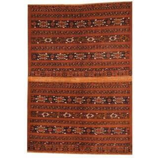 Herat Oriental Afghan Hand-knotted Turkoman Brown/ Navy Wool Rug (5'8 x 8'2)