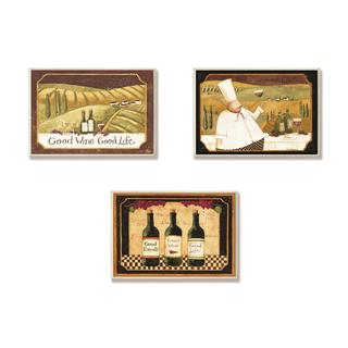 Good Friends, Wine And Life Kitchen Wall Plaque (Set of 3)
