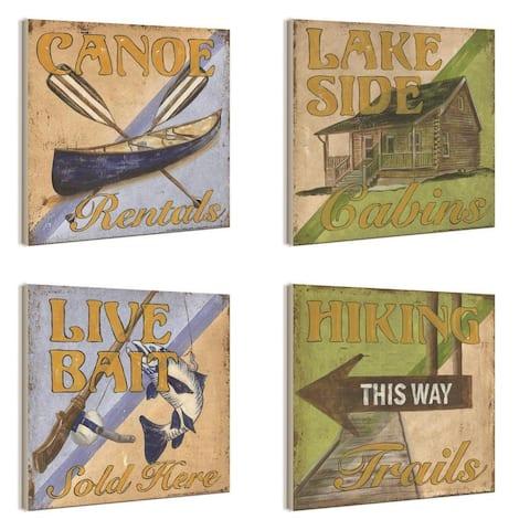 Outdoor Activities 4-piece Wall Plaque Set