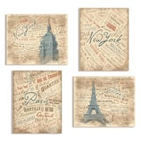NYC Paris Typography Scenary Wall Plaque (Set of 4)