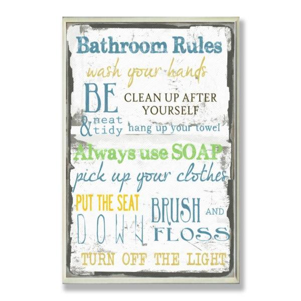 Bathroom rules typography wall plaque free shipping on for Bathroom decor rules
