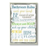 Bathroom Rules Typography Wall Plaque