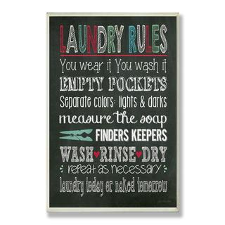Laundry Rules Typography Chalkboard Bath Wall Plaque