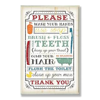 Wash Your Hands Typography Wall Plaque