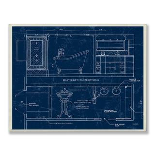 Master Bath Blueprint Wall Plaque