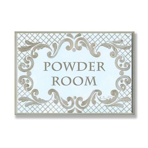 Powder Room Gold And Aqua Wall Plaque