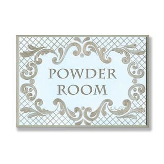 Powder Room Gold And Aqua Wall Plaque