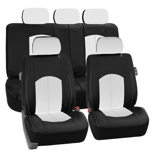 FH Group White Perforated Leatherette Auto Seat Covers (Full Set)