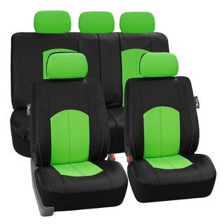 FH Group Green Perforated Leatherette Auto Seat Covers (Full Set)