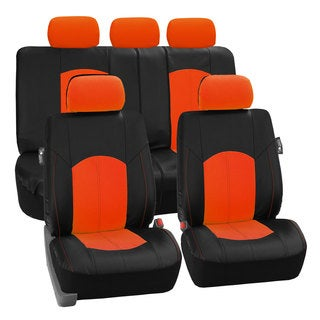 FH Group Orange Perforated Leatherette Auto Seat Covers (Full Set)