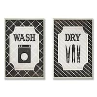 Wash and Dry B&W Laundry Plaque (Set of 2)