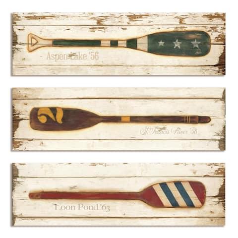 The Gray Barn Cocklebur 3-piece Vintage Oars Plaque Set