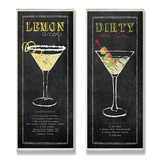 Cocktail Chalkboard Wall Plaque (Set of 2)