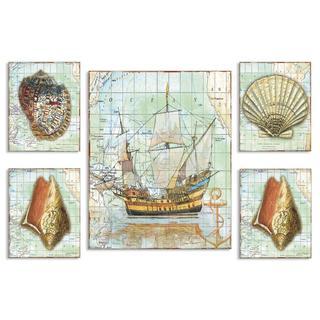 Nautical Journey Map Plaque (Set of 5)