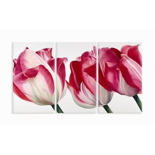 Fresh Pink Tulips 33X17 Triptych Art