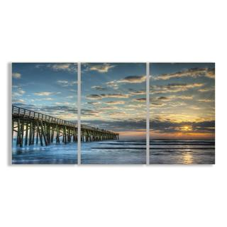 Docking At Sundown Beach Summer 33X17 Triptych Art