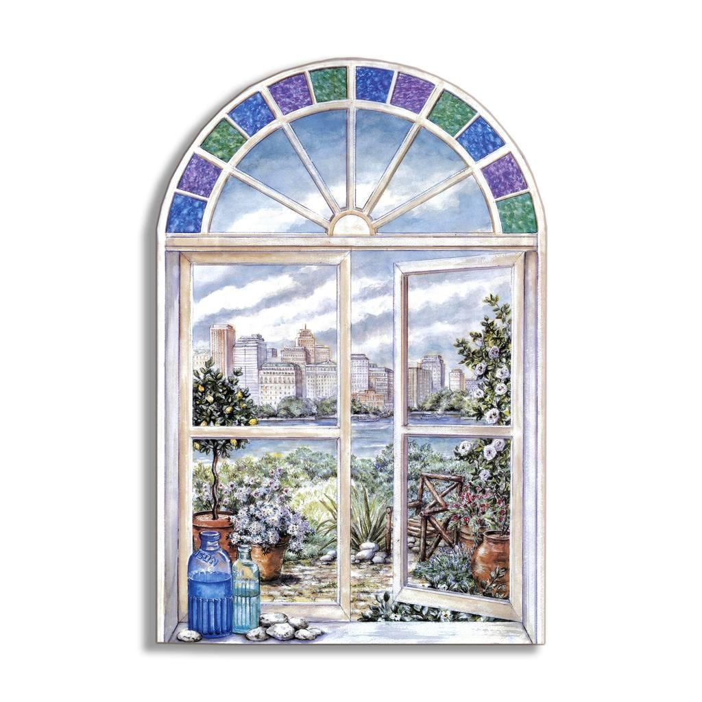 Stupell Stained Glass Faux Window Scene, Multi, Size Larg...