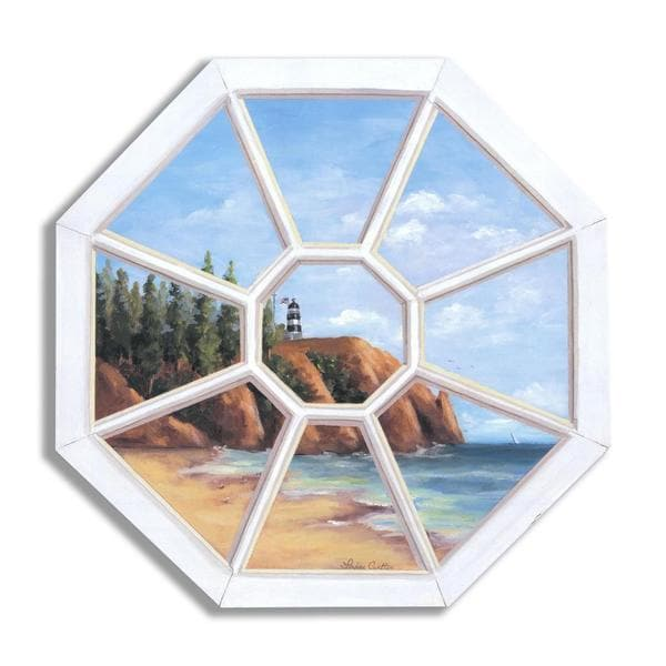Lighthouse Octagon Faux Window Scene