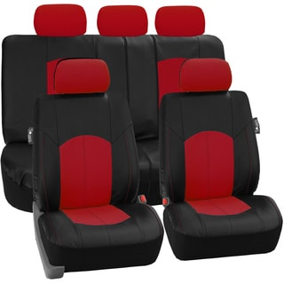 FH Group Red Perforated Leatherette Auto Seat Covers (Full Set)