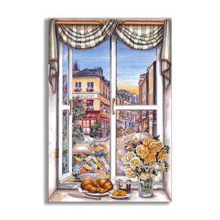 Paris Flower Market Side Faux Window Scene