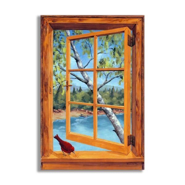 Cabin Cardinal Faux Window Scene