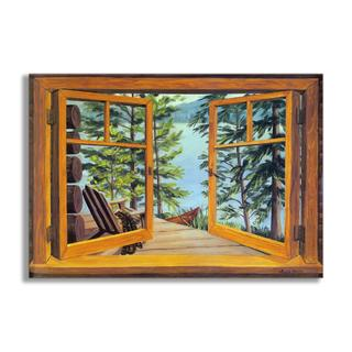 Cabin/Lake View Faux Window Scene
