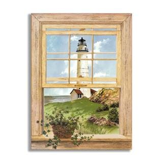 New England Lighthouse Faux Window Scene
