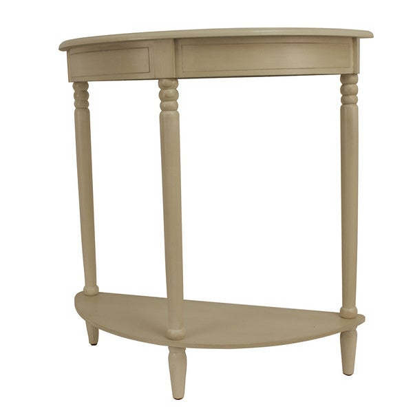 Antique White Simplicity Half Round Accent Table   Free Shipping Today    Overstock.com   16812731
