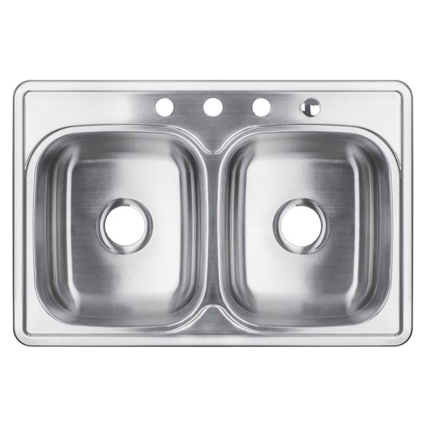 White Top Mount Kitchen Sink 32-inch double bowl stainless steel top-mount kitchen sink - free