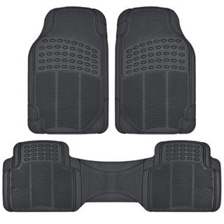 BDK 3-piece Heavy-duty Trimmable Rubber Ridged Car Floor Mats