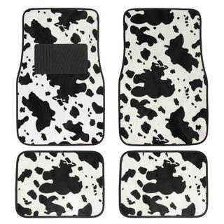 BDK Animal Print Cow Universal Carpet Floor Mats 4-Piece