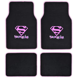 BDK Supergirl Floor Mats for Car 4-Piece Offcially Licensed Products