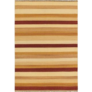 Fiesta Orange Wool Open Field Kilim Rug (5'7 x 7'10)