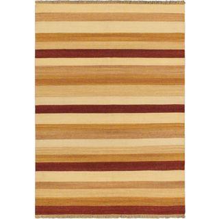 Fiesta Orange Wool Open Field Kilim Rug (5'7 x 7'10)
