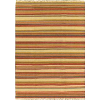 Kaleidoscope Cream Wool Open Field Kilim Rug (6'7 x 9'2)