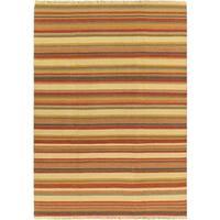 ECARPETGALLERY Flat-weave Kaleidoscope Cream Wool Kilim - 6'7 x 9'2
