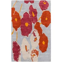 Luna Dark Orange Pale Blue Flowers Rug